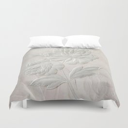 Embossed Painterly White Floral Abstract Duvet Cover