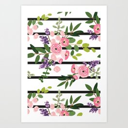 Pink roses bouquets with greenery on the striped background Art Print