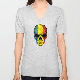 Dark Skull with Flag of Romania Unisex V-Neck