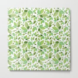 green leaves pattern, green foliage without gradient for printing Metal Print