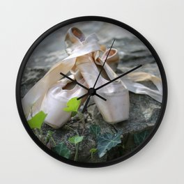 Pink Ballet Pointe Shoes on Limestone Wall with Ivy Vines Wall Clock