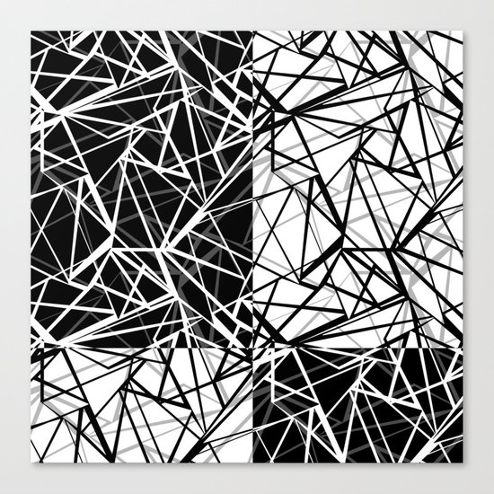 Black white combination pattern . Mesh . Canvas Print