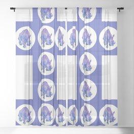 Northern White Rhinoceros Sheer Curtain