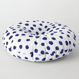 Mini dots painterly brushstrokes boho modern indigo blue and white preppy nautical dorm college art Floor Pillow