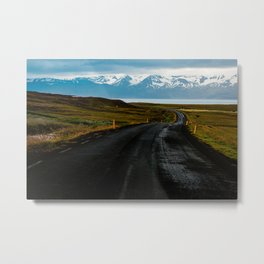 Iceland empty road with snowy mountains / fine art travel photography / landscape  Metal Print
