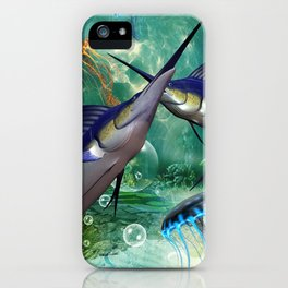 Awesome marlin with jellyfish iPhone Case