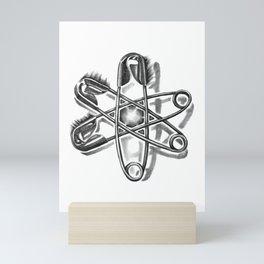 Safety Helix, safety pins, punk art Mini Art Print