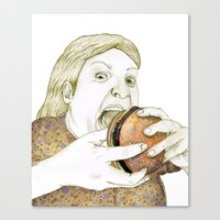 hamburger Canvas Prints featuring Hamburger by Sophie van Mackelenbergh Illustration