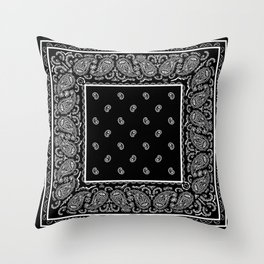 Classic Black Bandana Throw Pillow