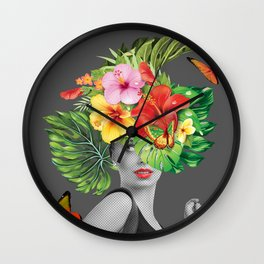 woman floral Wall Clock