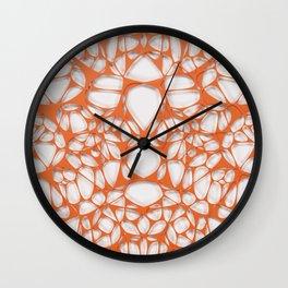 Orange on white, organic abstraction Wall Clock