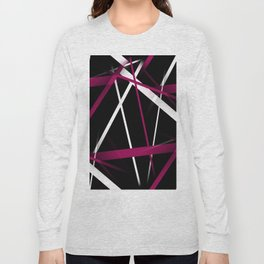 Seamless Rose Pink and White Stripes on A Black Background Long Sleeve T-shirt