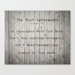 The Four Agreements Wood Background Canvas Print