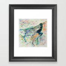 Energetic Howling Wolf Framed Art Print