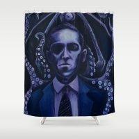lovecraft Shower Curtains featuring Lovecraft by Mrtn Ljmn