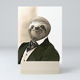 Gentleman Sloth in Authoritative Pose - Cartoon Mini Art Print