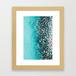Abstract Turquoise Ocean, Aerial Blue Sea Print, Large Ocean Poster, Coastal Wall Art, Beach Decor Framed Art Print