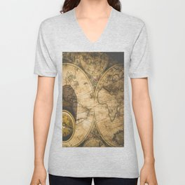 old nautical map with compass Unisex V-Neck