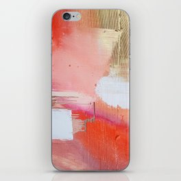 Moving Mountains: a minimal, abstract piece in reds and gold by Alyssa Hamilton Art iPhone Skin