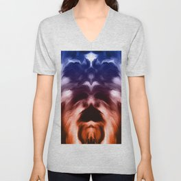abstract psychedelic paint flow ghost face c2 Unisex V-Neck