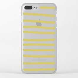 Simply Drawn Stripes Mod Yellow on White Clear iPhone Case