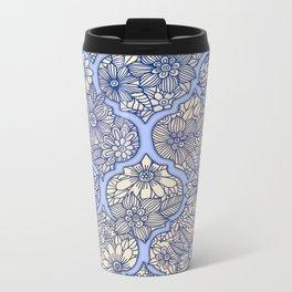 Moroccan Floral Lattice Arrangement - Purple Metal Travel Mug