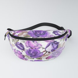 Violet lilac pink watercolor botanical roses floral Fanny Pack