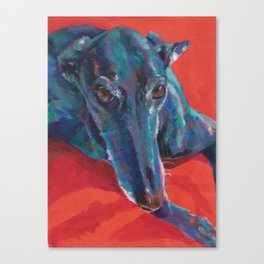 Greyhound on Red Canvas Print