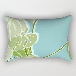 Block Printed Leaves Rectangular Pillow