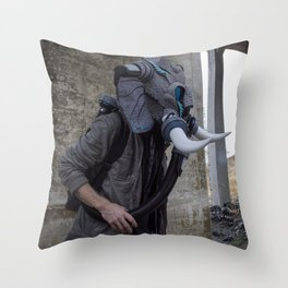 Sneakerhead Elephant Gas Mask by Freehand Profit Throw Pillow