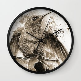 Just about to Fly in Sepia Wall Clock