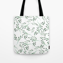 Hand painted green watercolor floral leaves Tote Bag