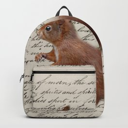 autumn fall seasonal shabby french scripts woodland animal squirrel Backpack