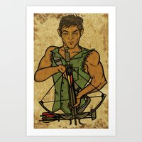 daryl Art Prints featuring Daryl by Aqua Ink Graphics