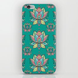 Lotus Mandala Doodle Green Pattern iPhone Skin