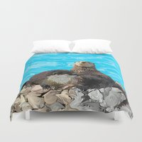 otters Duvet Covers featuring Where the River Meets the Sea Otters by Distortion Art