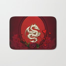 Chinese dragon with hearts Bath Mat