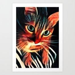 Cheshire Stripes Cat Art Print