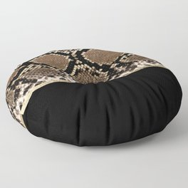 Modern black brown gold snake skin animal print Floor Pillow