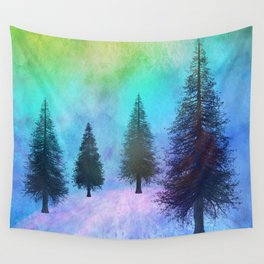 Pine Trees in the Northern Lights Wall Tapestry
