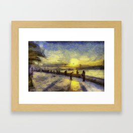 Bosphorus Sunset Van Gogh Framed Art Print