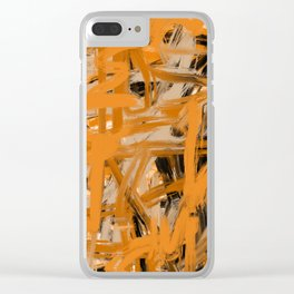 Orange & Taupe Abstract Clear iPhone Case