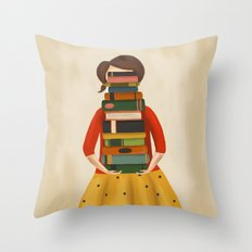 Marlowe Visits the Library Throw Pillow