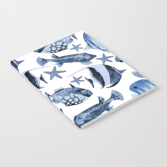 Fish underwater watercolor allover pattern Notebook