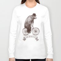 bears Long Sleeve T-shirts featuring Bears on Bicycles by Eric Fan
