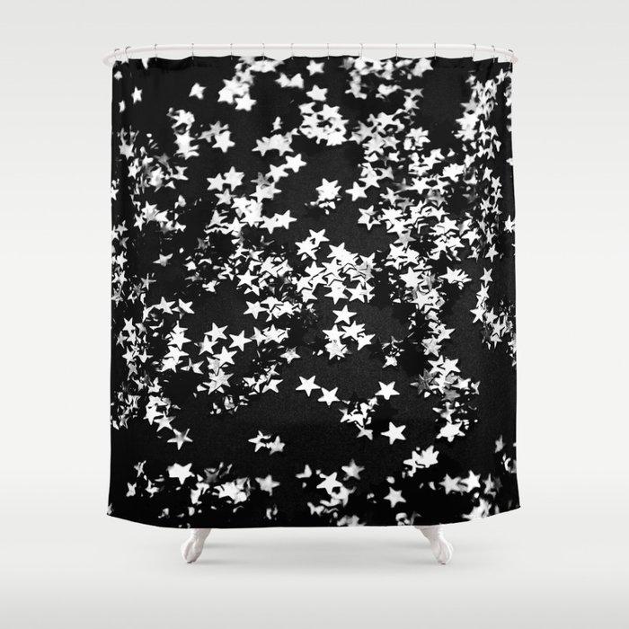 Black Night Glitter Stars 1 Shiny Decor Art Society6 Shower Curtain
