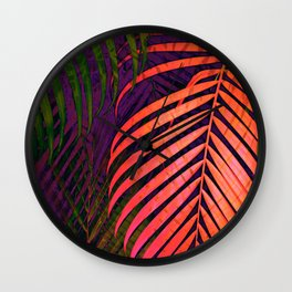 COLORFUL TROPICAL LEAVES no1 Wall Clock