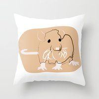 rat Throw Pillows featuring Rat by Jessica's Illustrationart