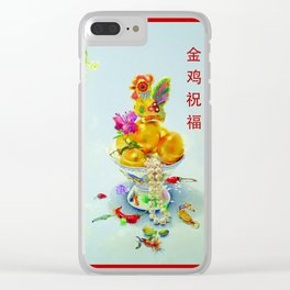 Year of the Rooster 金 雞 祝 福 (rectangular with border) Clear iPhone Case