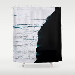 Black and White - Abstract minimal Iceberg aerial view in Greenland - Landscape Photography Shower Curtain